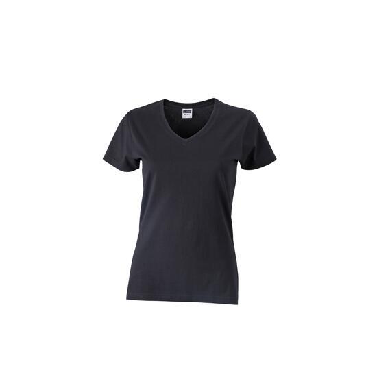 James & Nicholson Ladies Slim Fit V-T schwarz