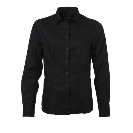 James & Nicholson Ladies Shirt Longsleeve Micro-Twill schwarz