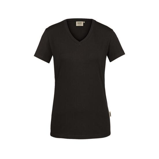 Hakro Damen-V-Shirt Stretch schwarz