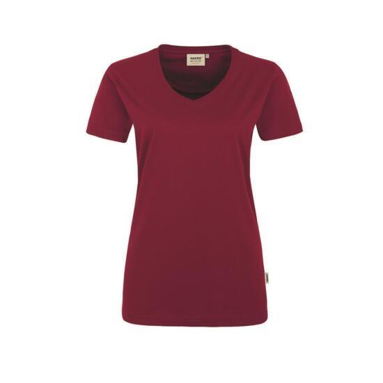 Hakro Damen-V-Shirt Performance weinrot