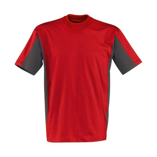 T-Shirt Kurzarm mittelrot/anthrazit