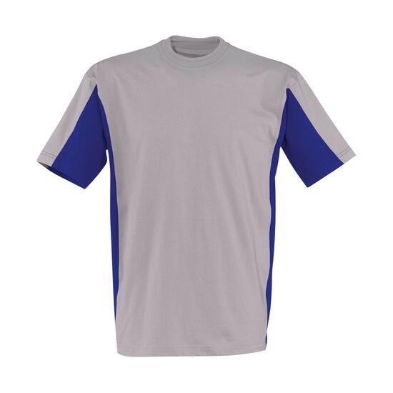 T-Shirt Kurzarm mittelgrau/kbl.blau