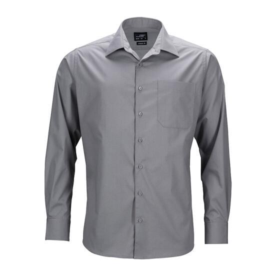 James & Nicholson Mens Business Shirt Long-Sleeved grau