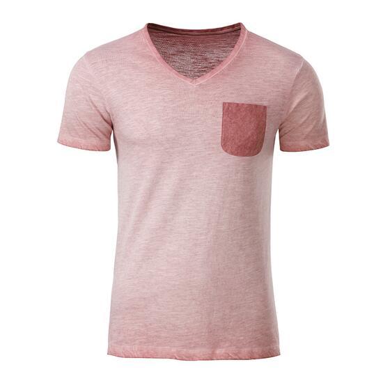 James & Nicholson Mens Slub-T pink