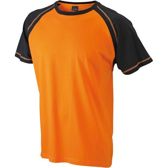 James & Nicholson Mens Raglan-T schwarz/orange