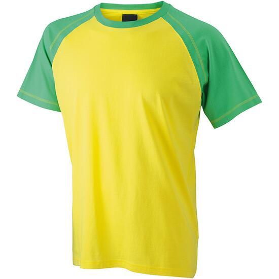 James & Nicholson Mens Raglan-T gelb/grün