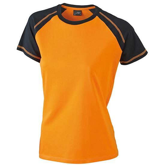 James & Nicholson Ladies Raglan-T schwarz/orange