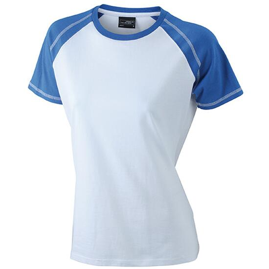 James & Nicholson Ladies Raglan-T weiß/blau