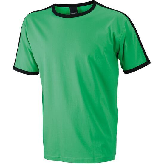 James & Nicholson Mens Flag-T schwarz/grün
