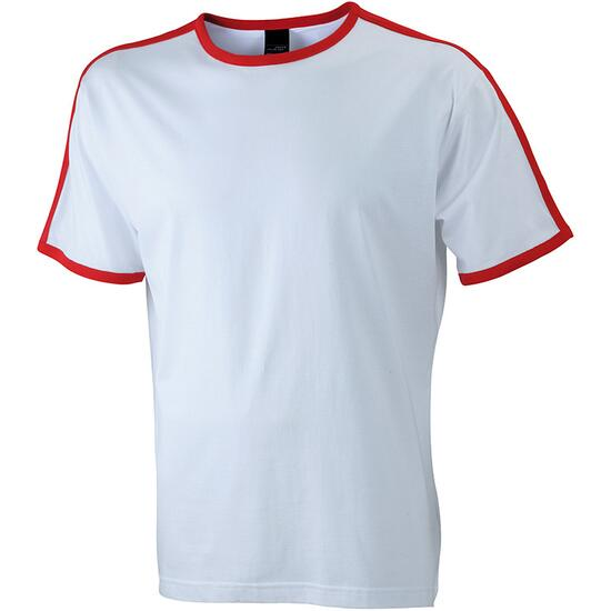 James & Nicholson Mens Flag-T weiß/rot
