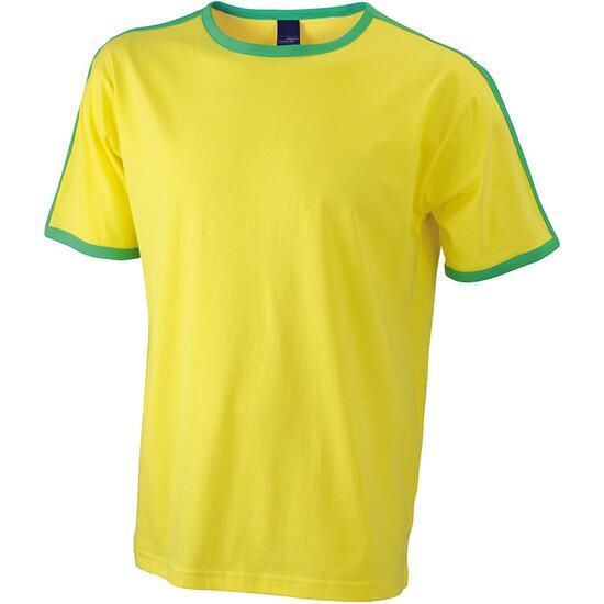 James & Nicholson Mens Flag-T gelb/grün