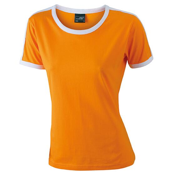 James & Nicholson Ladies Flag-T weiß/orange