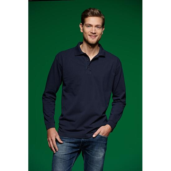 James & Nicholson Polo-Piqué Long-Sleeved schwarz