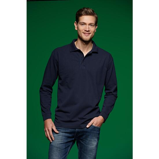James & Nicholson Polo-Piqué Long-Sleeved blau