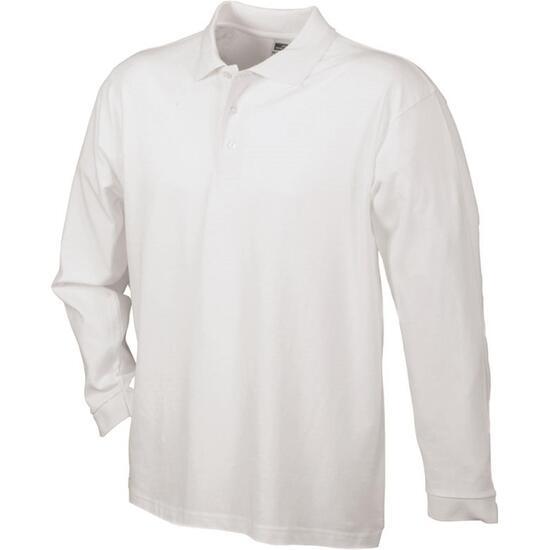 James & Nicholson Polo-Piqué Long-Sleeved weiß