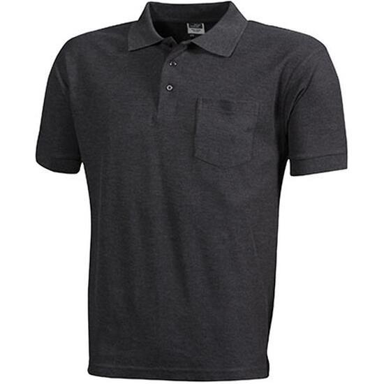 James & Nicholson Polo-Piqué Pocket grau/schwarz
