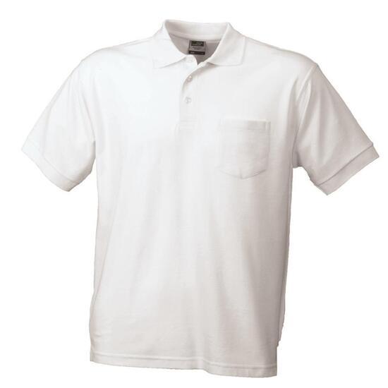 James & Nicholson Polo-Piqué Pocket weiß