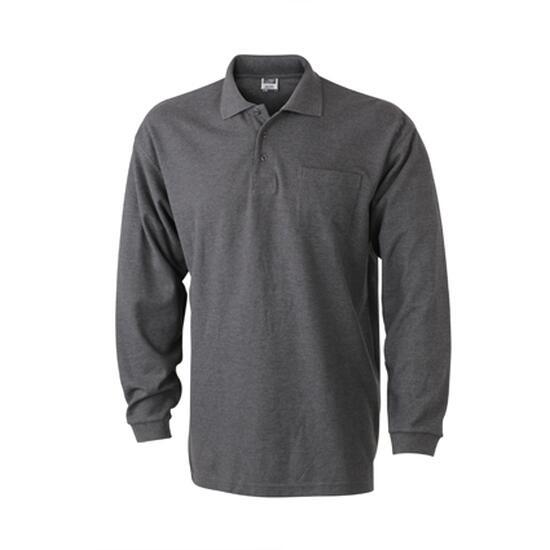 James & Nicholson Polo Piqué Long-Sleeved grau/schwarz