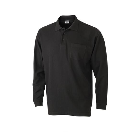 James & Nicholson Polo Piqué Long-Sleeved schwarz