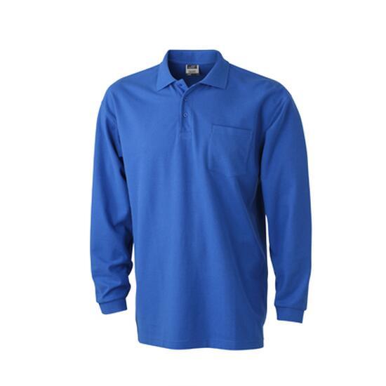 James & Nicholson Polo Piqué Long-Sleeved blau
