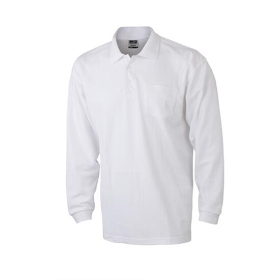 James & Nicholson Polo Piqué Long-Sleeved weiß
