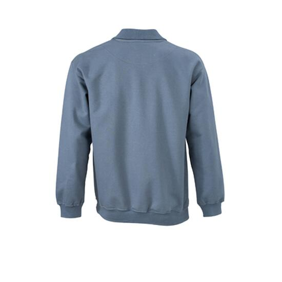 James & Nicholson Polo-Sweat Heavy grau