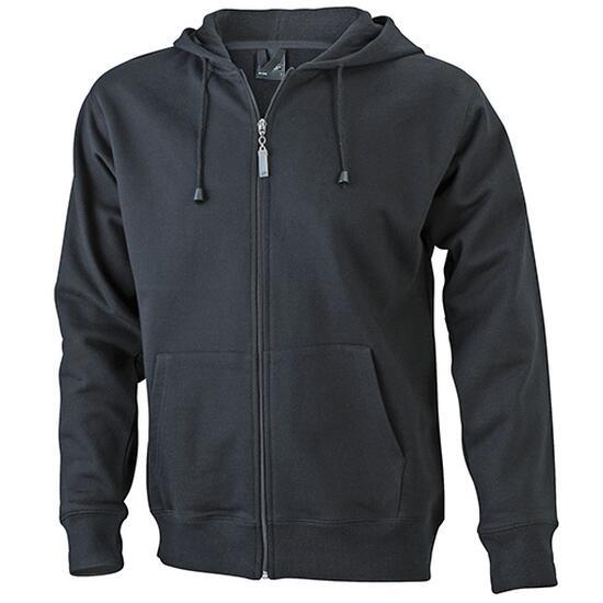 James & Nicholson Mens Hooded Jacket schwarz