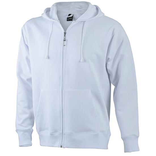 James & Nicholson Mens Hooded Jacket weiß