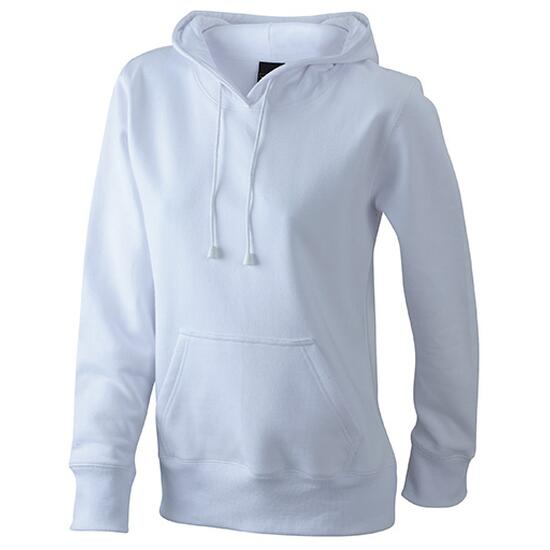 James & Nicholson Ladies Hooded Sweat weiß