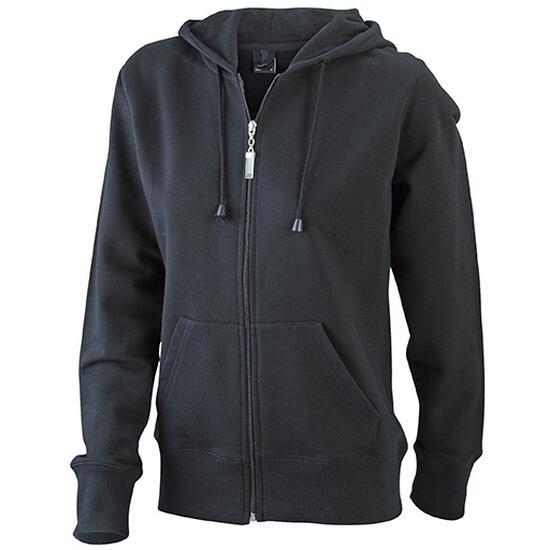 James & Nicholson Ladies Hooded Jacket schwarz
