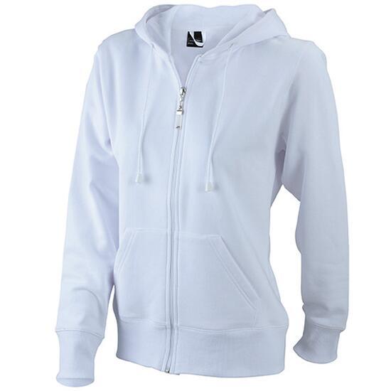 James & Nicholson Ladies Hooded Jacket weiß