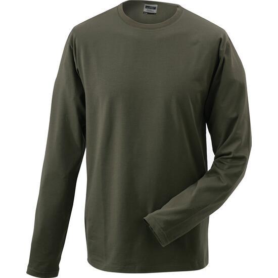 James & Nicholson Elastic-T Long-Sleeved braun/grün