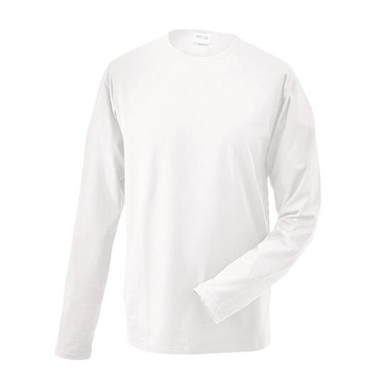 James & Nicholson Elastic-T Long-Sleeved weiß