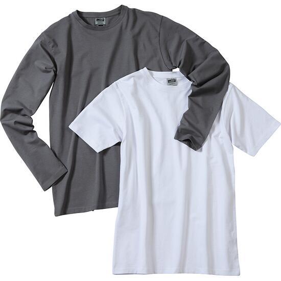 James & Nicholson Elastic-T Long-Sleeved weiß