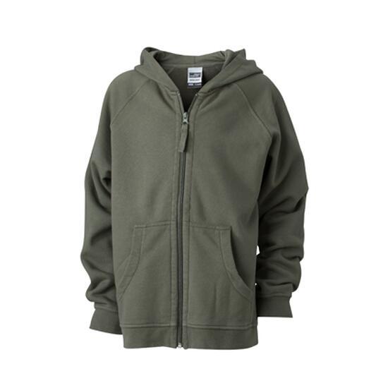 James & Nicholson Hooded Jacket Junior braun/grün