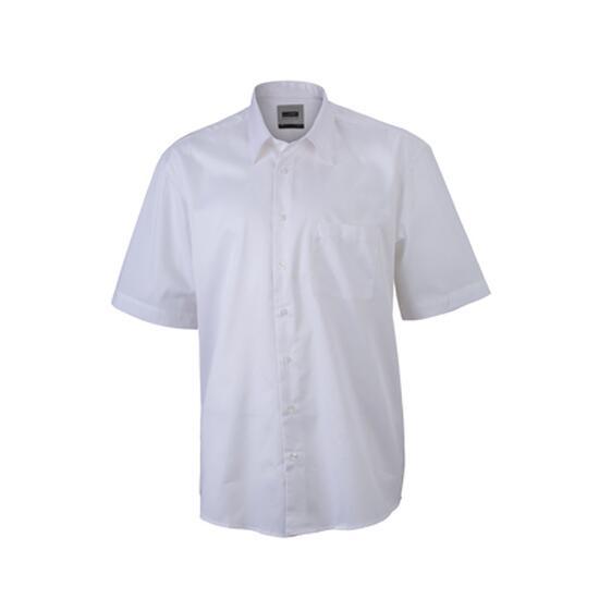 James & Nicholson Business Shirt Short weiß