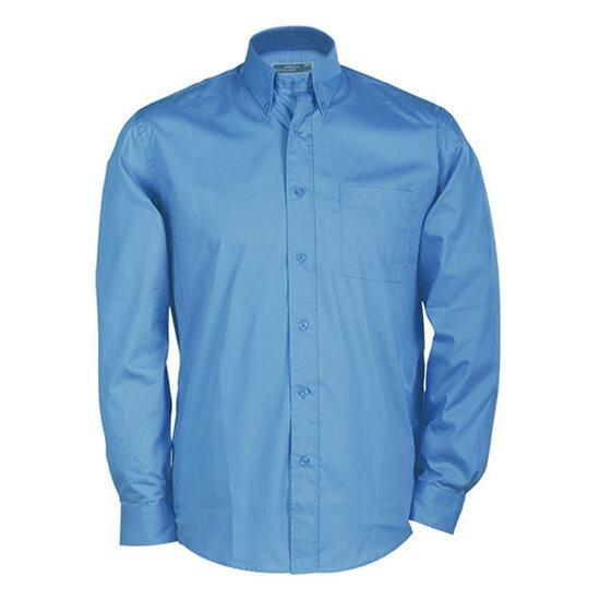 James & Nicholson Buttondown Shirt Long blau