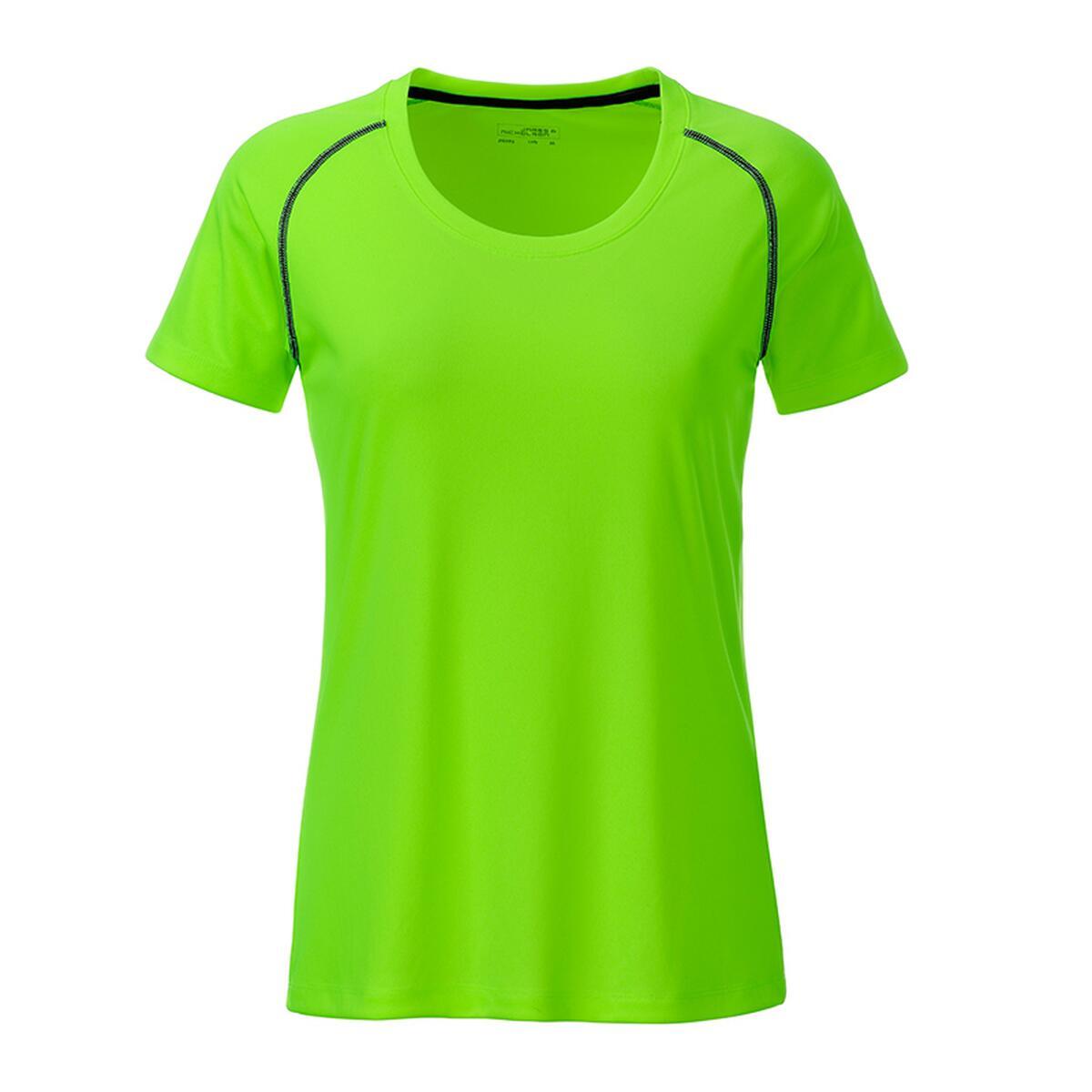 James & Nicholson Ladies' Sports T-Shirt schwarz/grün/neon ...