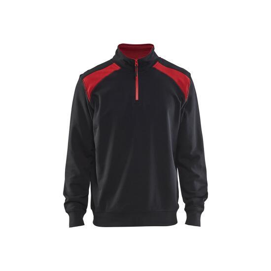 Half-zip 2-tone  Schwarz/Rot