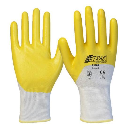Nitrilhandschuh Polyester weiß/gelb