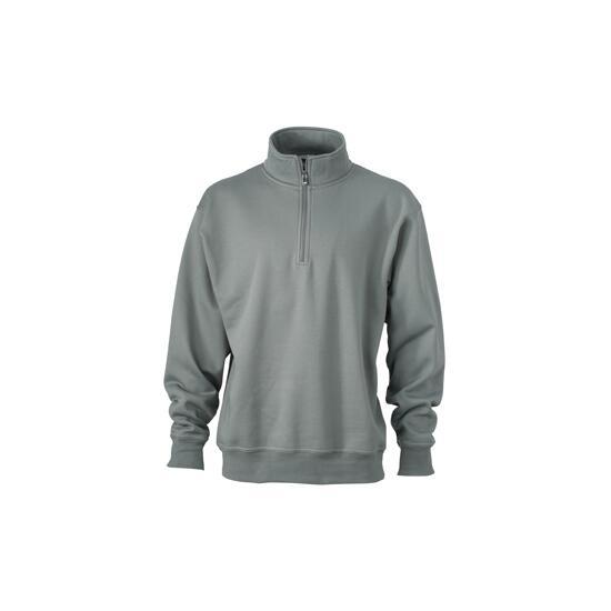 James & Nicholson Workwear Half Zip Sweat grau