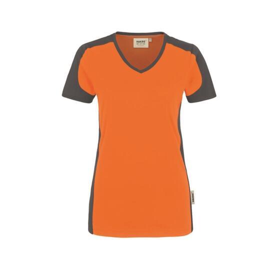 Hakro Damen-V-Shirt Contrast Performance orange/anthrazit