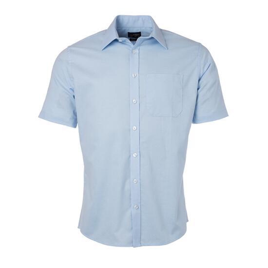 James & Nicholson Mens Shirt Shortsleeve Oxford blau