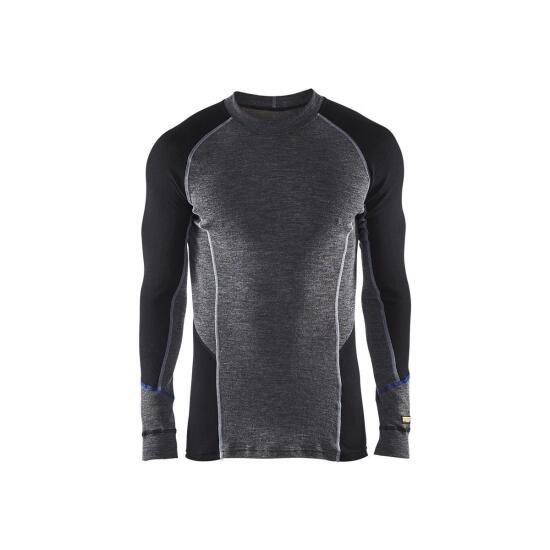 WARM 100% MERINO Unterwäsche Oberteil  Grey/Black
